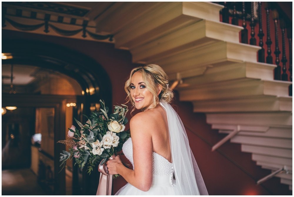 Stunning bridal portrait at Swinton Park Estate in Yorkshire.