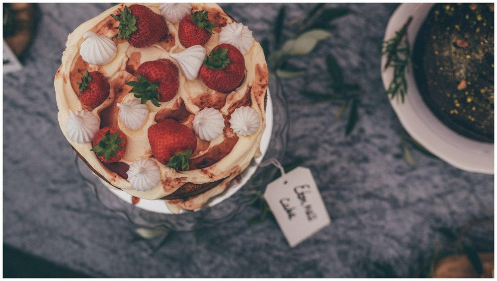 Stunning homemade Eton mess cake for the cake table at the Holford Estate in Cheshire.