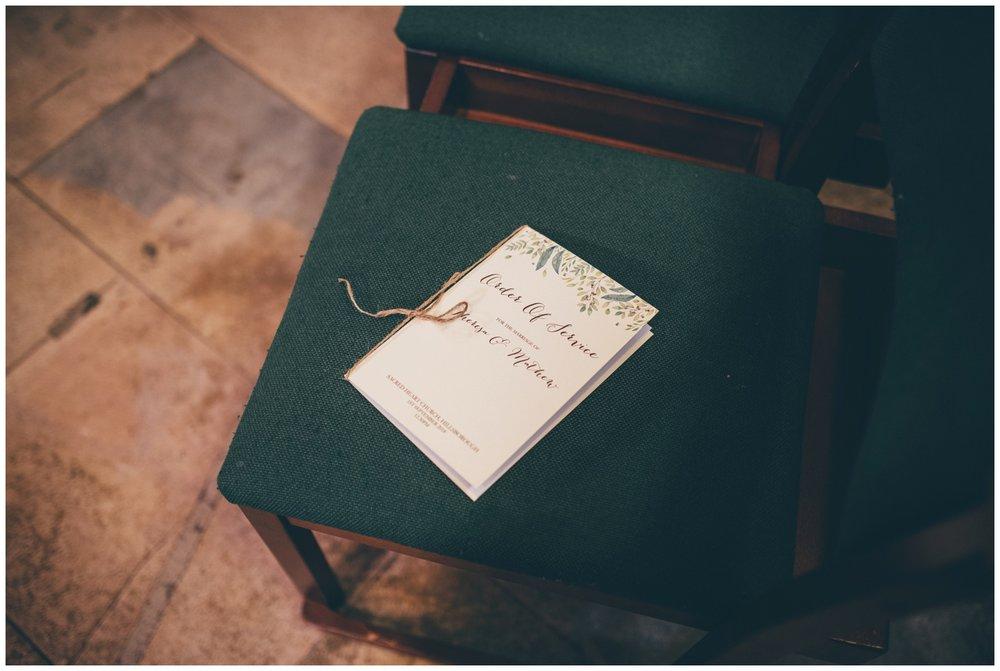 Wedding stationary at Sheffield city centre wedding.