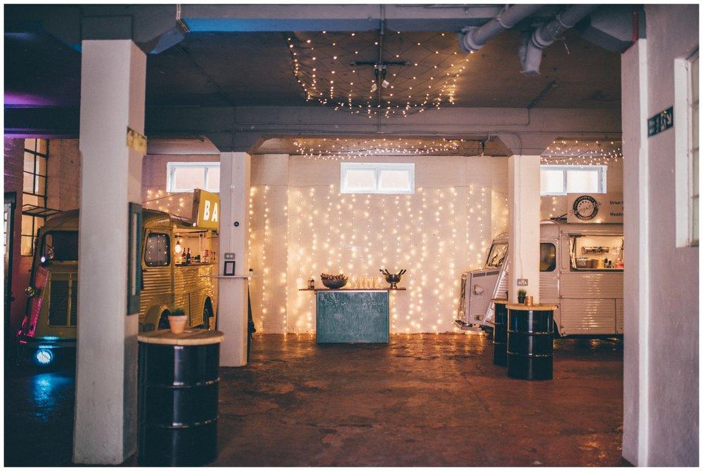 Interior of creative wedding venue in Sheffield, The Hide.