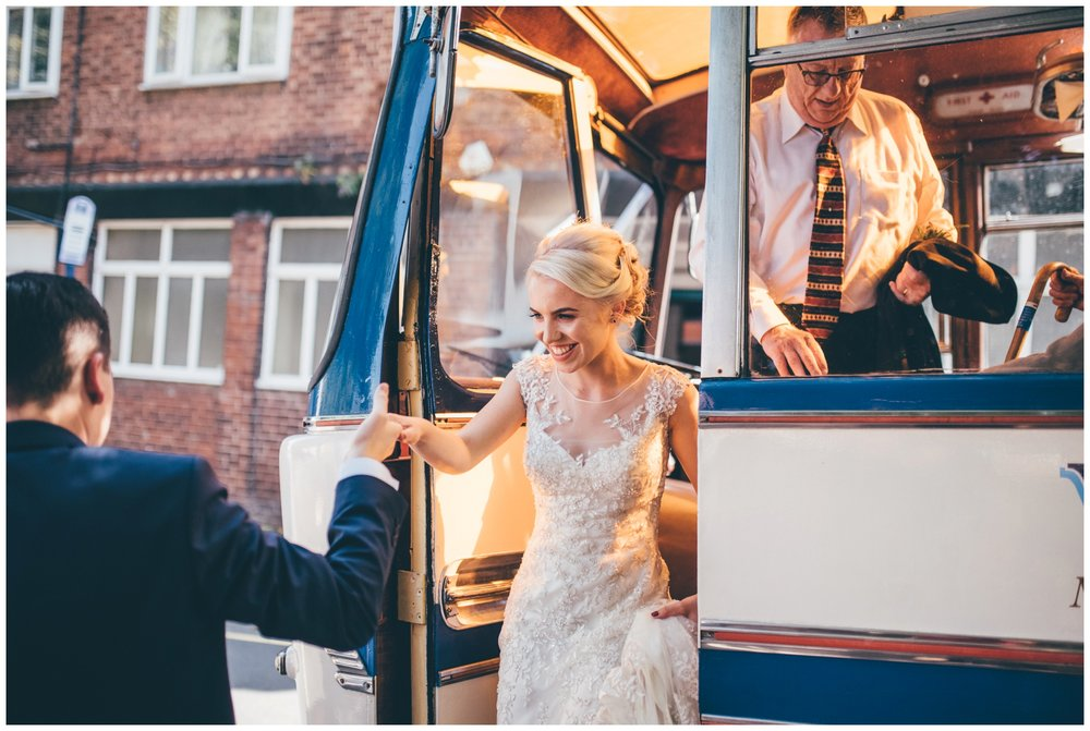 Vintage wedding bus arrives at The Hide in Sheffield City Centre.