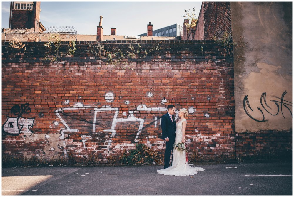 Graffiti covered car park and streets in Sheffield city centre wedding.