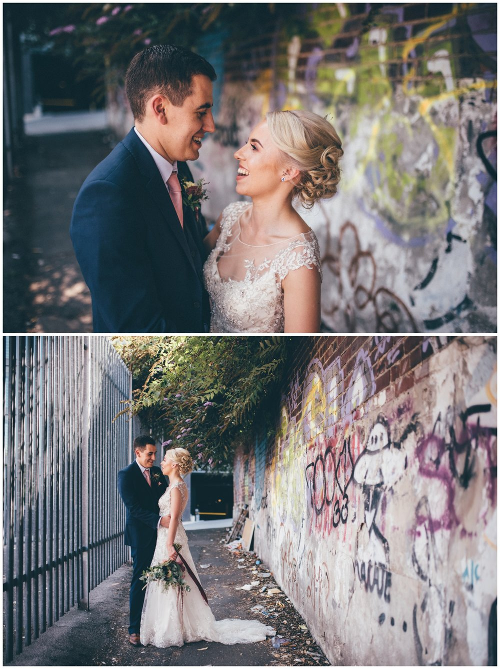 Graffiti covered car park and streets in Sheffield city centre wedding make a great back-drop for bride and groom.