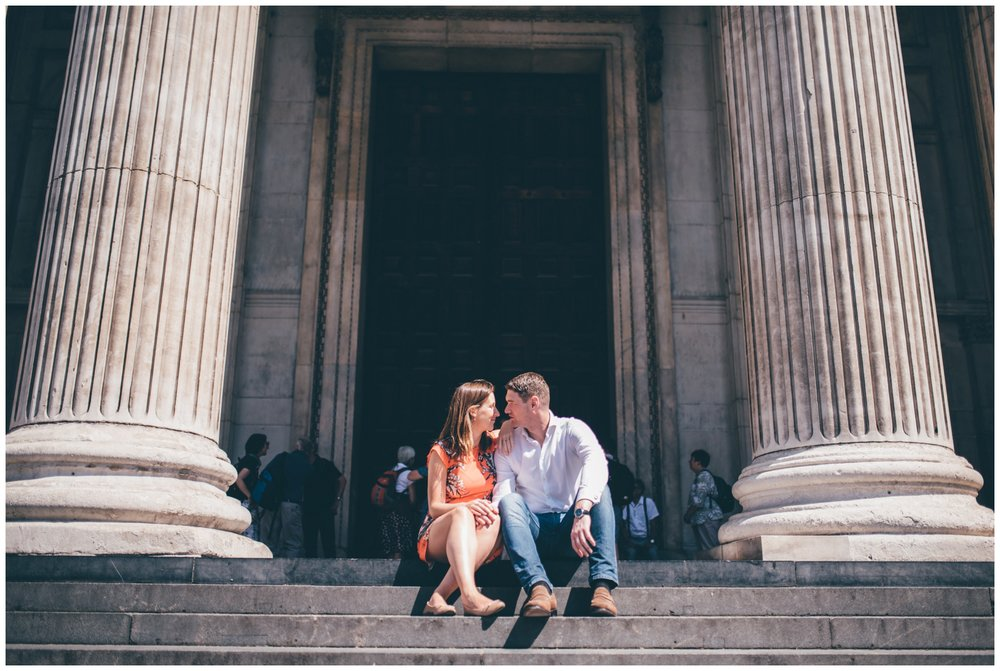 Young couple have a photoshoot just before their wedding in London City centre.
