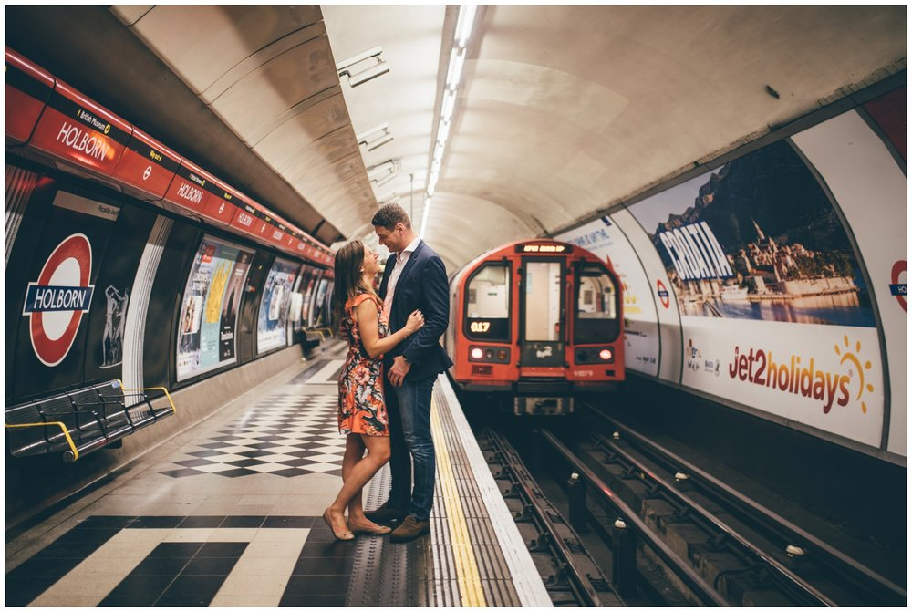 Bride and groom to-be have a photo shoot ahead of their wedding in London Underground.
