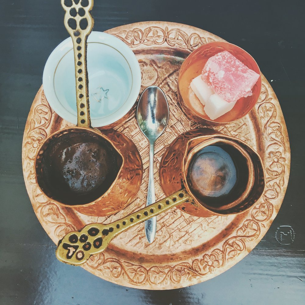 BOSNIAN COFFEE - Pure delight comes in the form of Bosnian Coffee! Served on a tray with tiny accoutrement—ceramic cup, copper džezvas, spoon, sugar cubes and rahat lokum (known by Westerners as