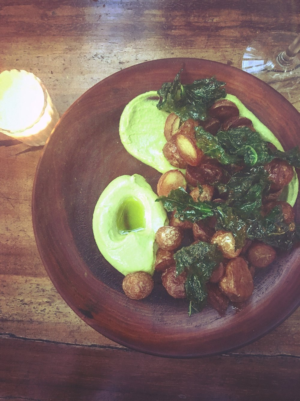 Roasted Potatoes + Kale @ Arca