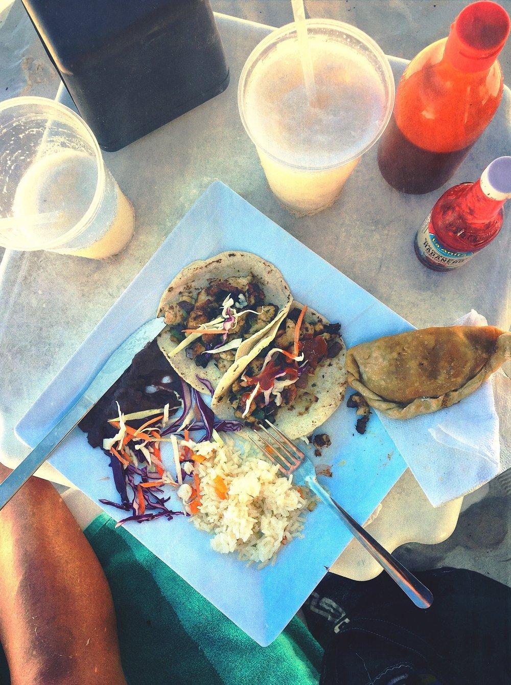 Tacos, Rice + Beans @ Playa Santa Fe