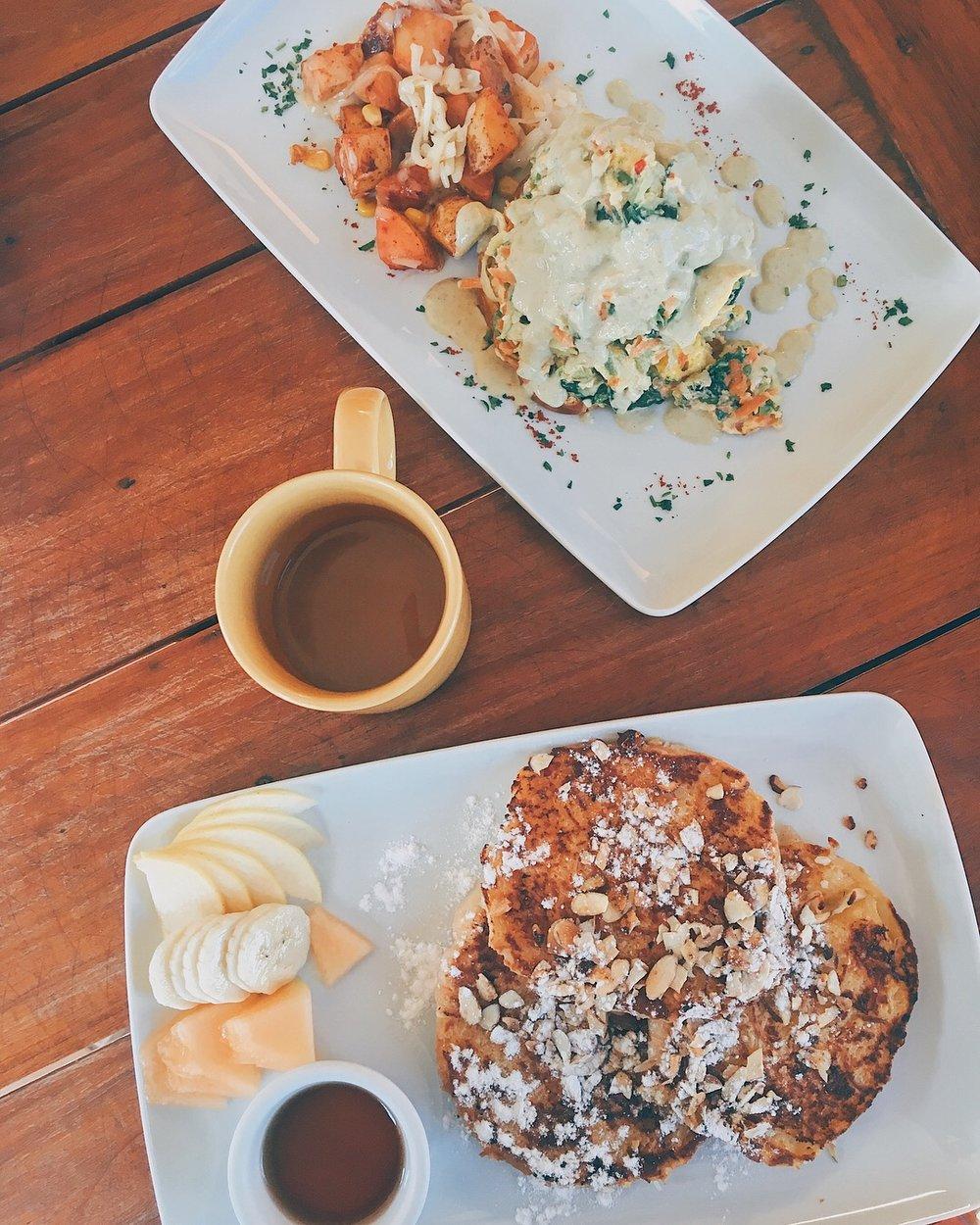 Buckwheat Pancakes + Eggs Benedict @ Mango