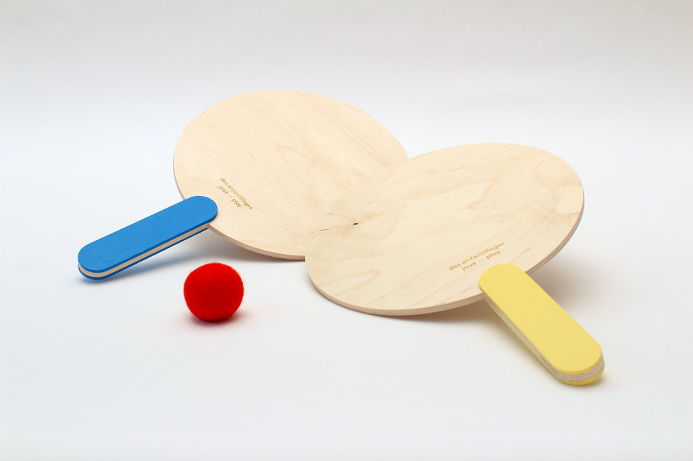 SUMMER CAPSULE COLLECTION Paddle ball set / blue and yellow $55.00 CAD