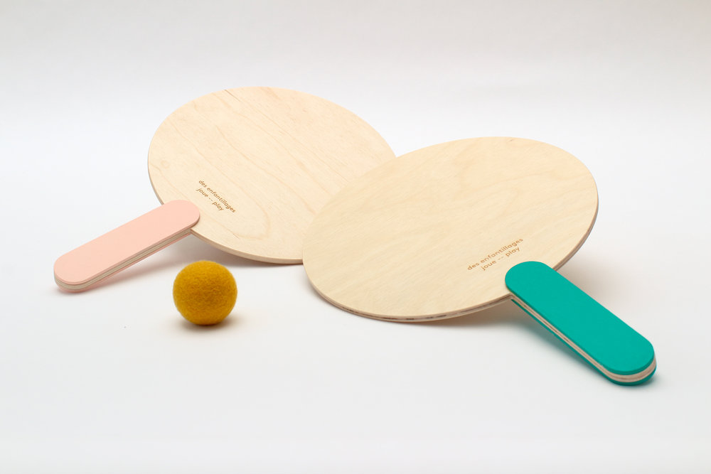 SUMMER CAPSULE COLLECTION Paddle ball set / pink and green $55.00 CAD
