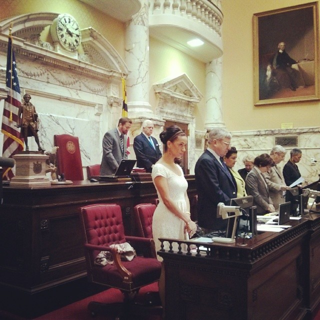Praying an invocation for the Maryland State Senate.