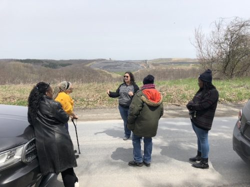 CCJ Executive Director, Veronica, describing the Coal Refuse Disposal Area or toxic valley fills to One PA Environmental EJ Team.