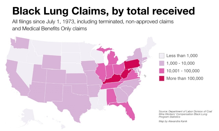 Photo sourced from: https://www.alleghenyfront.org/black-lung-disease-is-making-a-comeback-among-appalachian-miners/