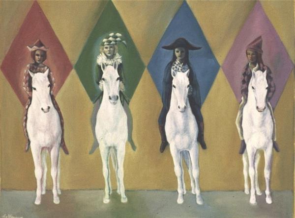 FOUR HORSE WOMEN by artist Suzanne Deveuve