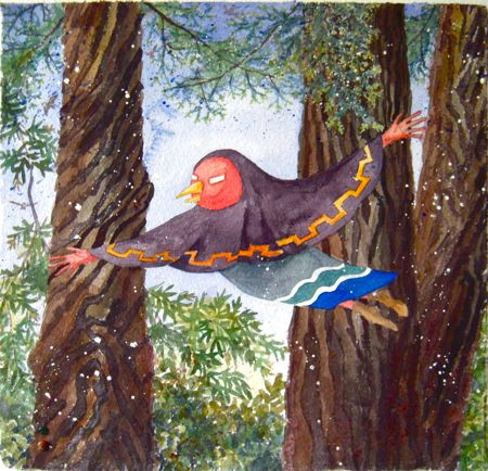 BIRD GRANDMOTHER IN THE REDWOOD GROVE Sandy Eastoak  watercolor 11 x 11.5""