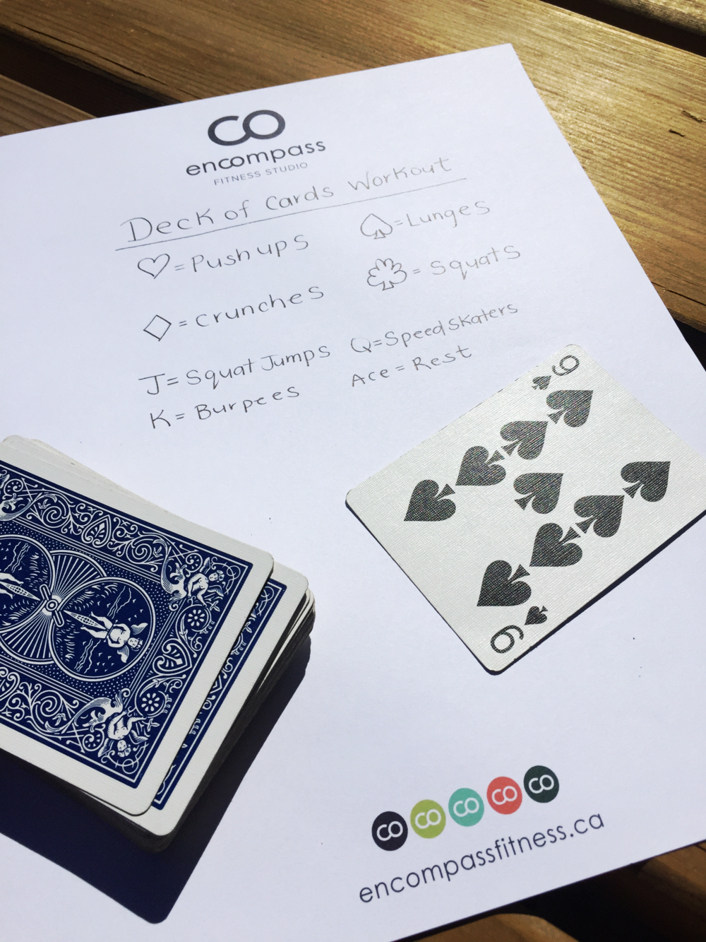 Deck of Cards - one of our favourites! For example, a nine of spades would be 9 lunges. Finish your lunges as fast as you can, and flip the next card!