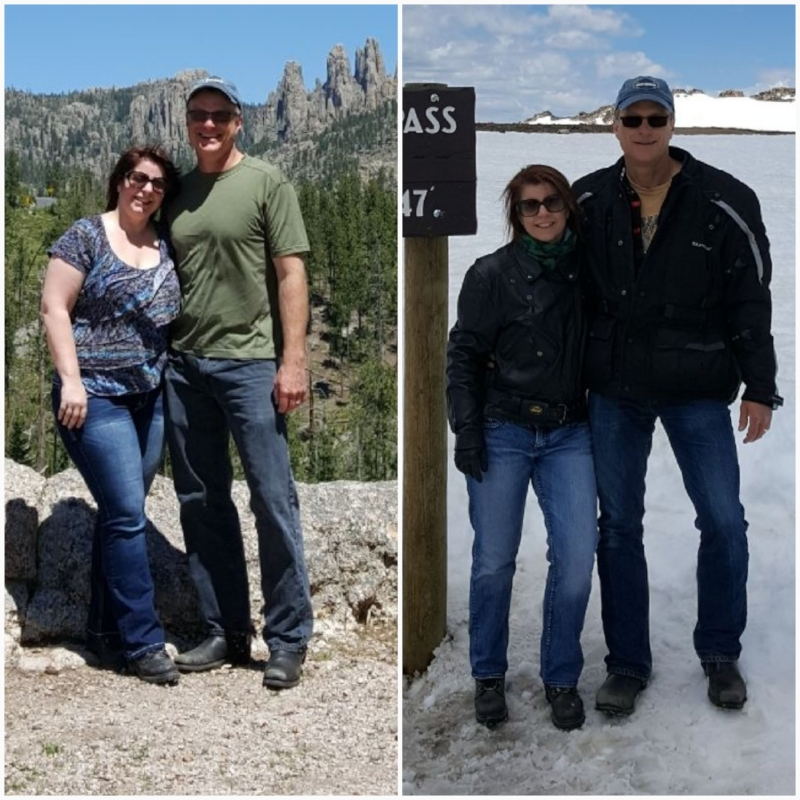 Vanessa and her husband, Kirby, on their annual bike trip. There might only be a year between these photo's, but what seems like an entire world of difference when it comes to health, confidence, and energy.