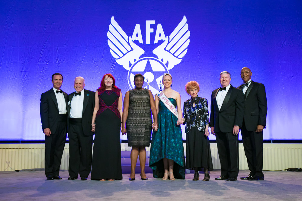 #70for70 honorees attending AFA's Air Force Birthday Dinner join Harris CEO and AFA Leadership on stage. September 18, 2017.