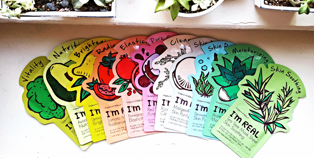 The Tony Moly mask color spectrum.  Photo by Grace Corton.