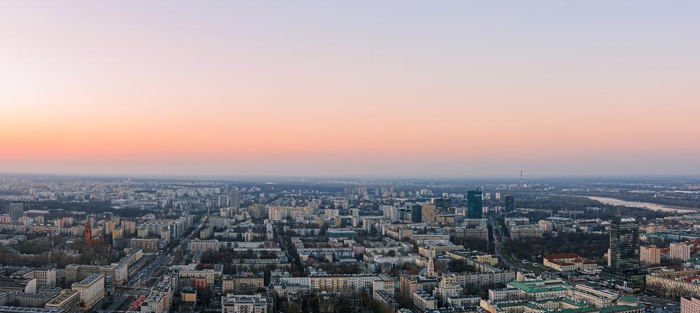 Warsaw Spire, Q22 i wtt o zachodzie słońca