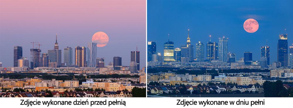 Wschod ksiezyca nad Warszawa