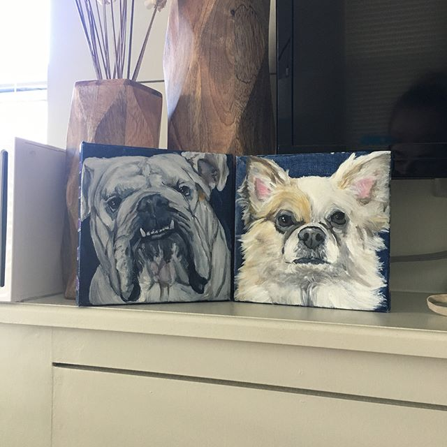 Have to take a minute to give @chewy a shout out. Not only do I actually use and love their site for everything I need for the guys but they also sent us some awesome swag and soon after these amazing paintings came in the mail! Thank you so much @chewy and Diana for these. They are sitting on the mantle and I am obsessed. (Not being paid to say this. Just genuinely love this company)