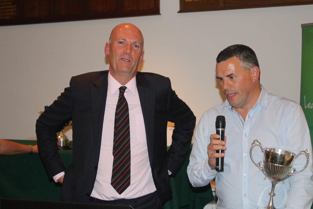 John Gillis with Leslie McCormack winner of the Old Boys trophy