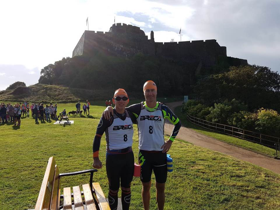 Embracing the challenge at Mont Orgueil Castle, the start for Breca Jersey 2017, with my partner Kevin Linehan