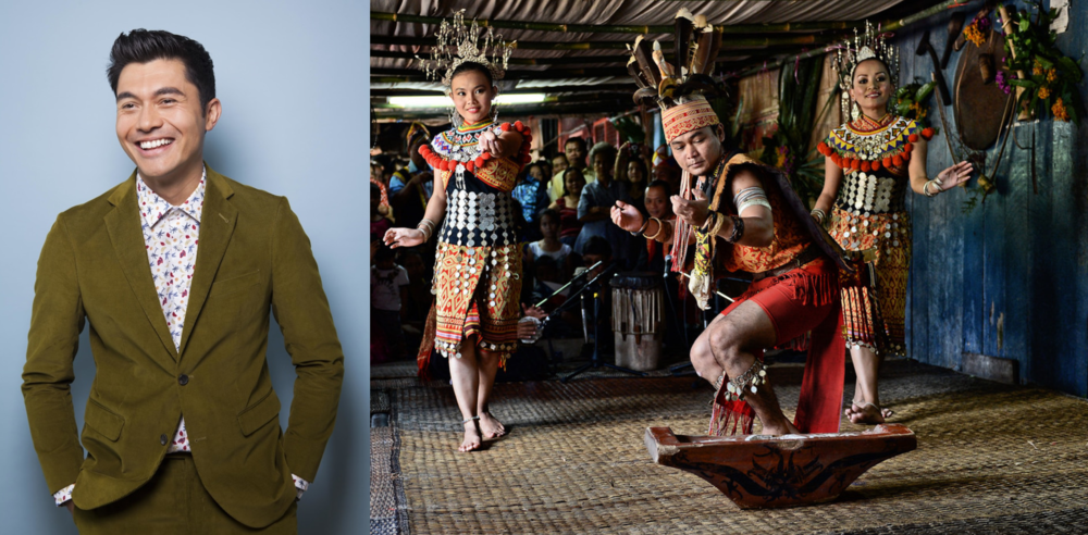 Henry Golding plays Nicholas Young; the Iban cultural dance in Sarawak