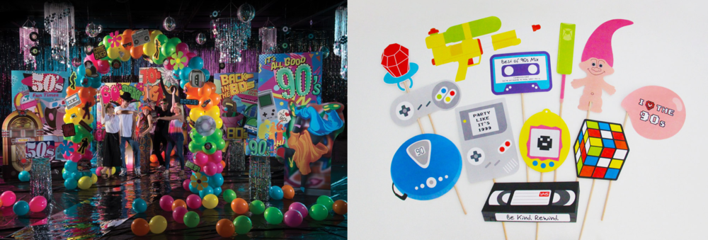 Nostalgia themed parties: Stumps Party Through the Decades Theme Kit (left), printable 90s party props (right)