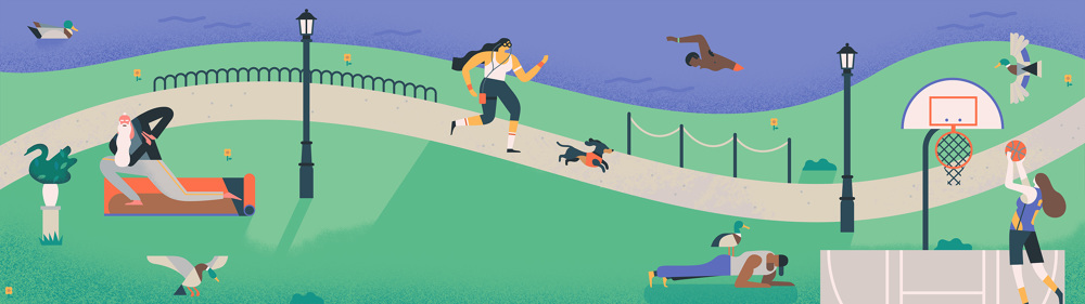 Google-Goals-Excercise-Owen-Davey-Illustration-Characters-Running-Yoga-Duck-Basketball-Swimming-Park_1000.jpg
