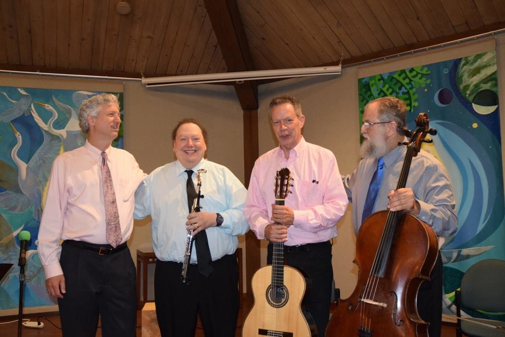 "Brian Ganz, Don Stapleson (flute), Peter Fields (guitar), Fred Lieder (cello), during ""The Clazzical Project"" July 28."