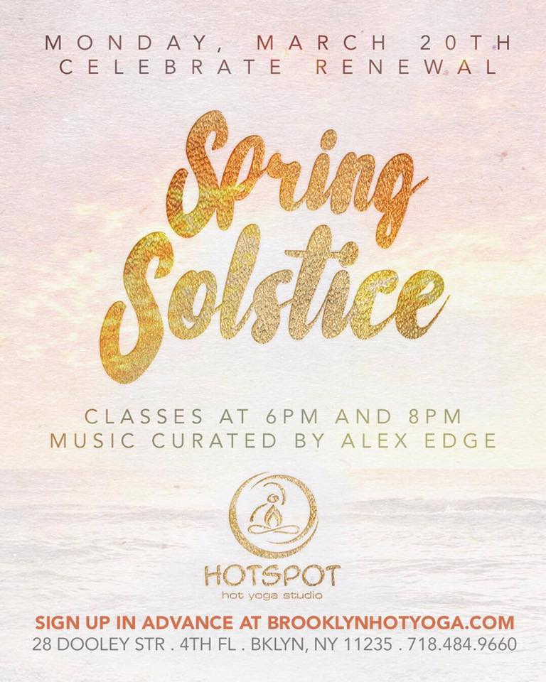 Official invite for Spring Solstice Yoga with   Alex Edge