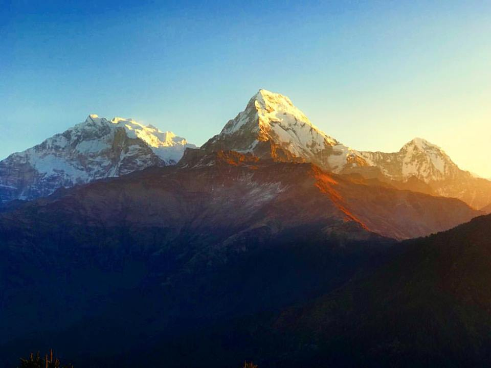 The mighty Himalayas at sunrise