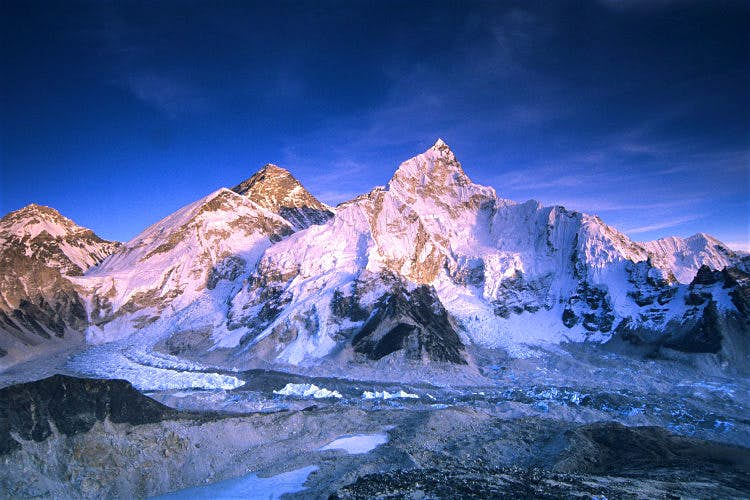 Mount Everest and the Khumbu Glacier in Sagarmatha National Park. Image by Dan Rafla