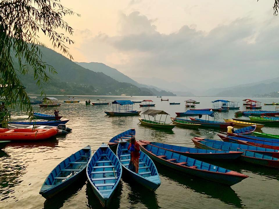 Phewa Tal Lake in Pokhara, Nepal