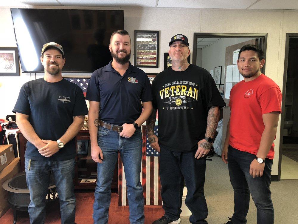 Picture: Left to Right (Work Study's |Navy Veteran Warren Schulz, Marine Veteran Andrew Brown, Marine Veteran Justin Goss, and Marine Veteran David Arredondo)