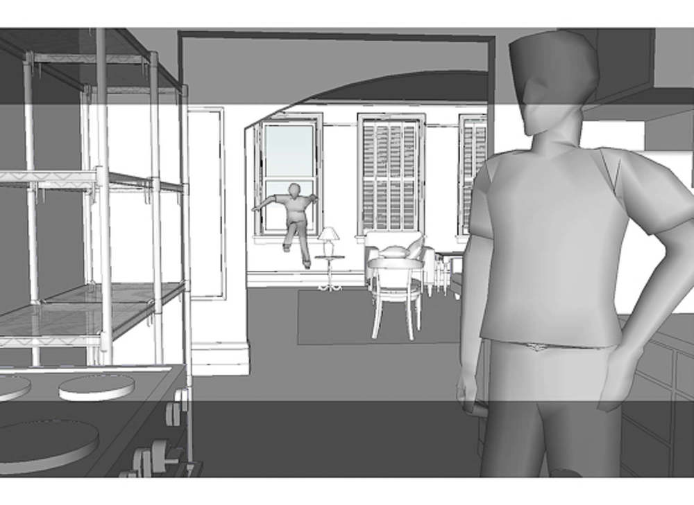 Sam's Apartment - 3D Model, view from kitchen
