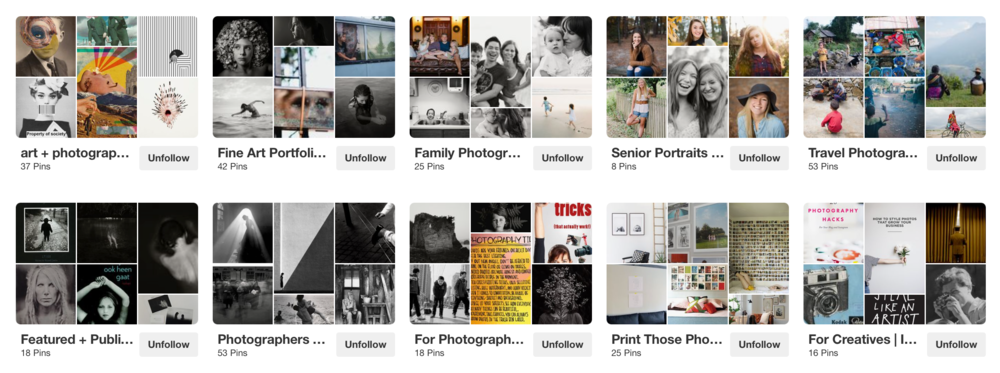 My thoughts on Debs Pinterest -    Out of Deb's 10 boards featured on the first two lines we see when we visit her profile, 6 boards contain her own imagery which is exactly what you want. For people to visit your profile and know who you are and what you do! The other 4 are full of photography related inspiration which is just perfect for reaching her target audience… Who is her target audience? Photographers looking to be inspired and educated.    Note: Deb is an incredible photographer who happens to also be an    amazing illuminate teacher   !   See more of Deb's work -  INSTAGRAM  //  PINTEREST  //  FACEBOOK  //  WEBSITE    A few fun Pinterest facts…  It's actually not a social media platform. It is essential a search engine. Being successful on Pinterest is less about your number of followers and more about how many people are seeing your pins. You can have next to no followers and be rocking Pinterest! To do so, you need to create brand relevant boards and pins and use keyword rich descriptions so people find your content. Of course, posting frequently is important too because the more active you are, the more your pins will show up which means a higher chance of repins which equates to more traffic!  I used to get around 10,000 views a month on my  Pinterest profile  After implementing a super simple strategy and more regular pinning practises, that number rocketed to 200,000 views a month! I recently created a Pinterest strategy and pinning schedule for  one of my clients  and after just 6 weeks she has over 400,000 views a month! I know… Crazy! Pinterest honestly is worth taking the time to learn. Get in now. Be an early adopter before it's saturated and it is hard for your pins to be seen. It's a pretty easy platform to master and its super fun.