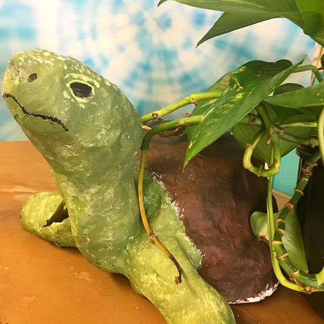Tyrone the turtle 🐢 easing his way into summer break 🌀:: #dearfuturela #afterschool  #artclub #arteducation #highschoolart #wegettogive #artstudent #artmentor #artchangeslives #nonprofit #papermache