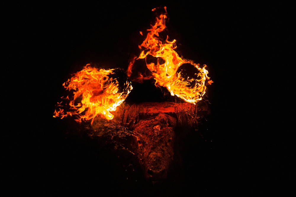 The  bull  looks on as the  flammable  balls  burn  during the ' Toro de Jubil o' fire bull festival on November 16, 2014 in  Medinaceli , Spain.  Toro de Jubilo , a  Fire Bull festival , is an ancient tradition held annually at midnight in the Spanish town of Medinaceli. The event starts when flammable balls attached to a bull,s horns are set alight. The  animal  is then untied and revellers dodge it until the flammable material is consumed. The body of the animal is covered with mud to protect it from burns.