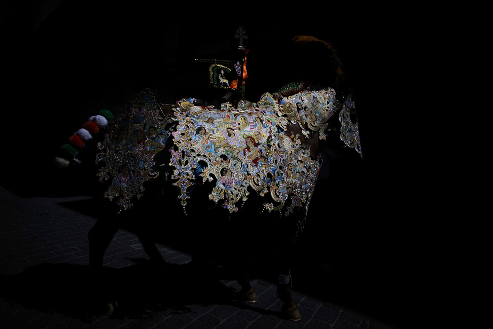 One of Caravaca's club horses exhibits its  cape  around the streets on May 2, 2014 in  Caravaca  De La  Cruz , Spain. The Day of the  Wine Horses  is part of May Caravaca  Cross Festivities . The horses are harnessed with  ornamental  capes and are exhibited around the city.