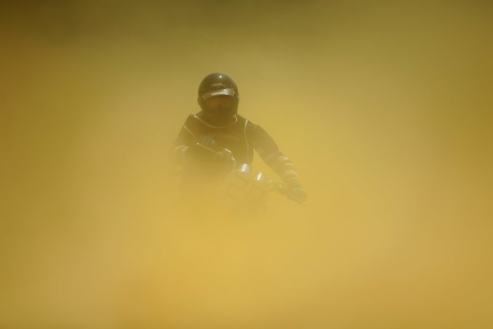 A  rider  competes with his  motorbike  during  El Rollo   flat track race , held as part of  Wheels & Waves  festival at San Sebastian Racetrack on July 8, 2016 in Donostia/ San Sebastian, Spain