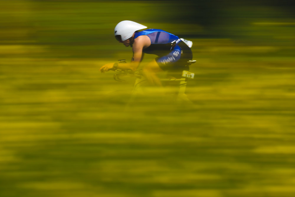An athlete competes during the biking course of the Ironman 70.3 - Pays d'Aix on May 14, 2017 in France.