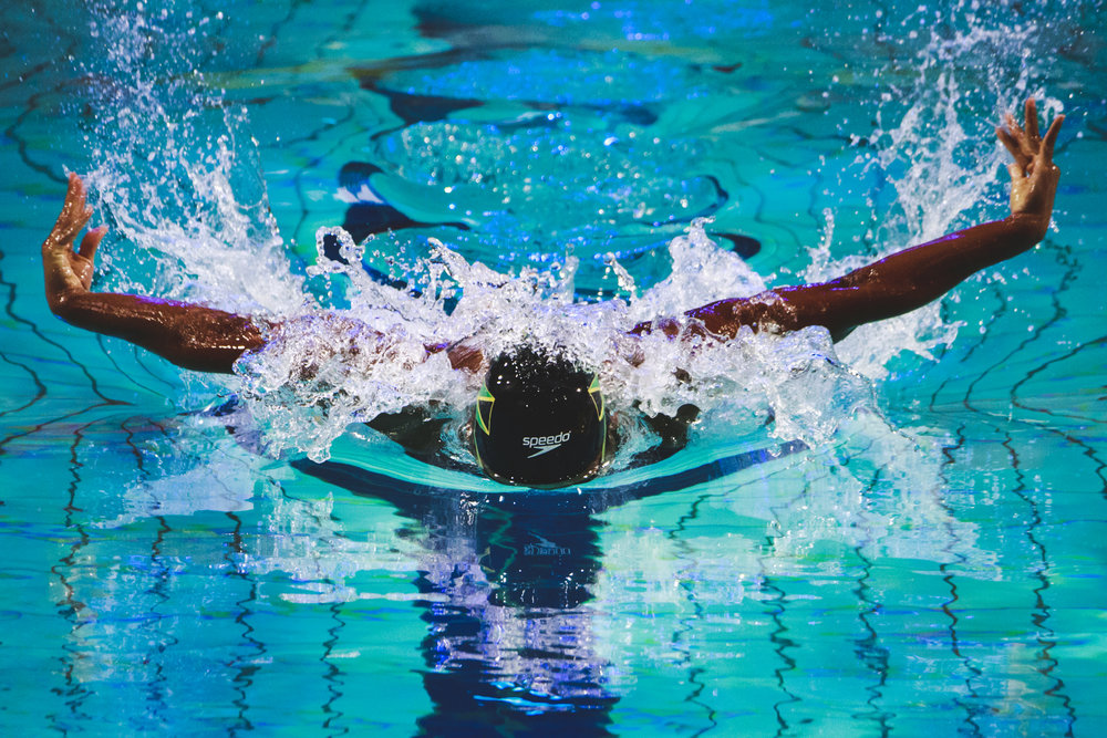 Alia Atkinson from Jamaica competes durin the Women's 50m Butterfly heats of the FINA/airweave Swimming World Cup Eindhoven 2017 at Pieter van den Hoogenband Swimming Stadium on August 12, 2017 in Eindhoven, Netherlands.