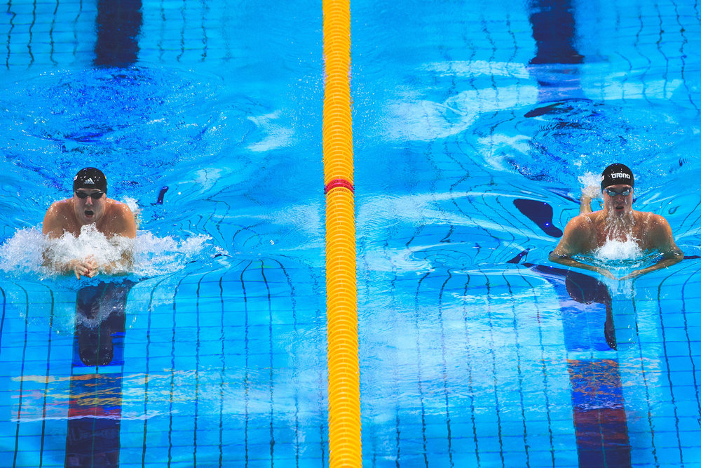 Marco Koch (L) from Germany and Anton Chupkov (R) from Russia competes during the Men's 200m Breaststroke Final of the FINA/airweave Swimming World Cup Eindhoven 2017 at Pieter van den Hoogenband Swimming Stadium on August 12, 2017 in Eindhoven, Netherlands.