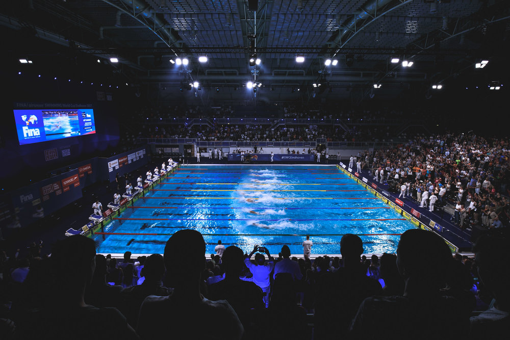 General view of the pool as the Men's 50m Freestyle Final takes place during the FINA/airweave Swimming World Cup Eindhoven 2017 at Pieter van den Hoogenband Swimming Stadium on August 11, 2017 in Eindhoven, Netherlands.
