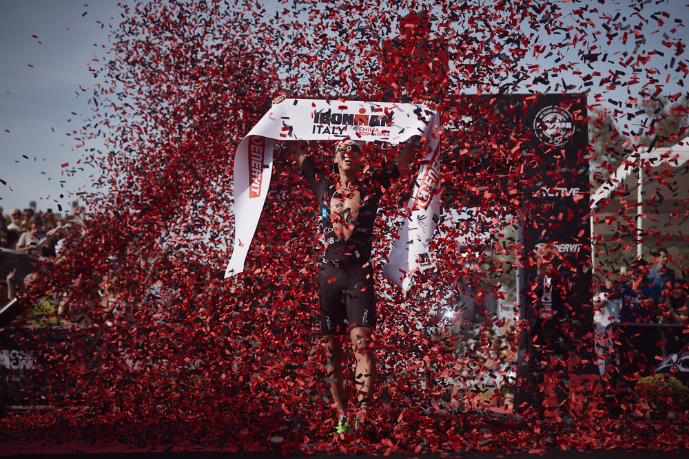 Andy Boecherer from Germany arrives at the finish line on first male's place during Ironman Emilia Romagna on September 22, 2018 in Cervia, Italy.