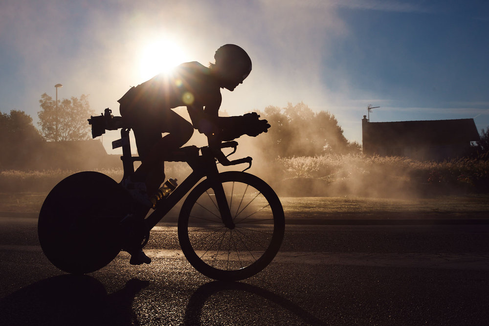 Athletes compete during the biking course of Ironman Vichy on August 25, 2018 in Vichy, France.